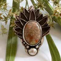 Artichaut d'automne, bague de légende grecque en argent et jaspe d'automne