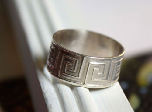 Mexica, bague de grecques mexicaines en argent