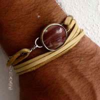 Shina, bracelet sable rouge en argent, cuir et jaspe paysage