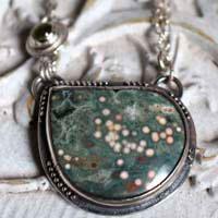 Ouranos, collier divinité grecque en argent, jaspe océan et péridot